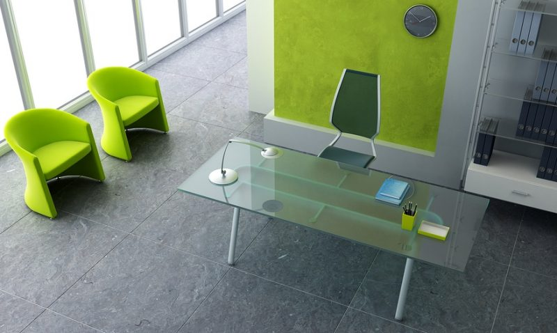 modern office interior 3d rendering in green color